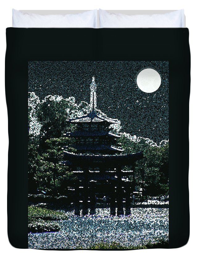 Full Moon Duvet Cover featuring the mixed media Asian Moon by Shirley Heyn