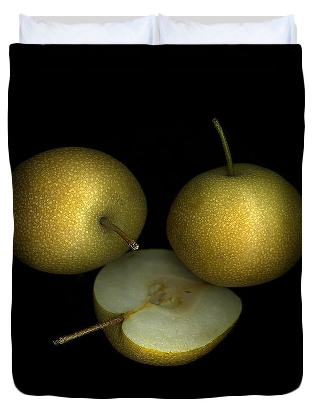 Culinary Duvet Cover featuring the photograph Asian Pears by Christian Slanec