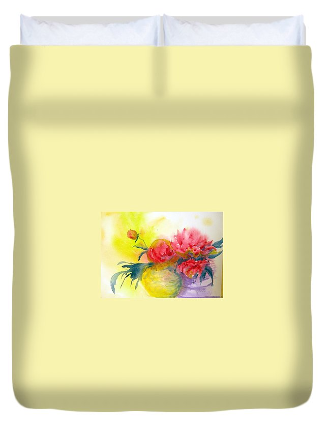 Peony Duvet Cover featuring the painting Asian Peonies by Marilyn Bishop