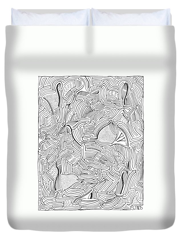Mazes Duvet Cover featuring the drawing Askance by Steven Natanson