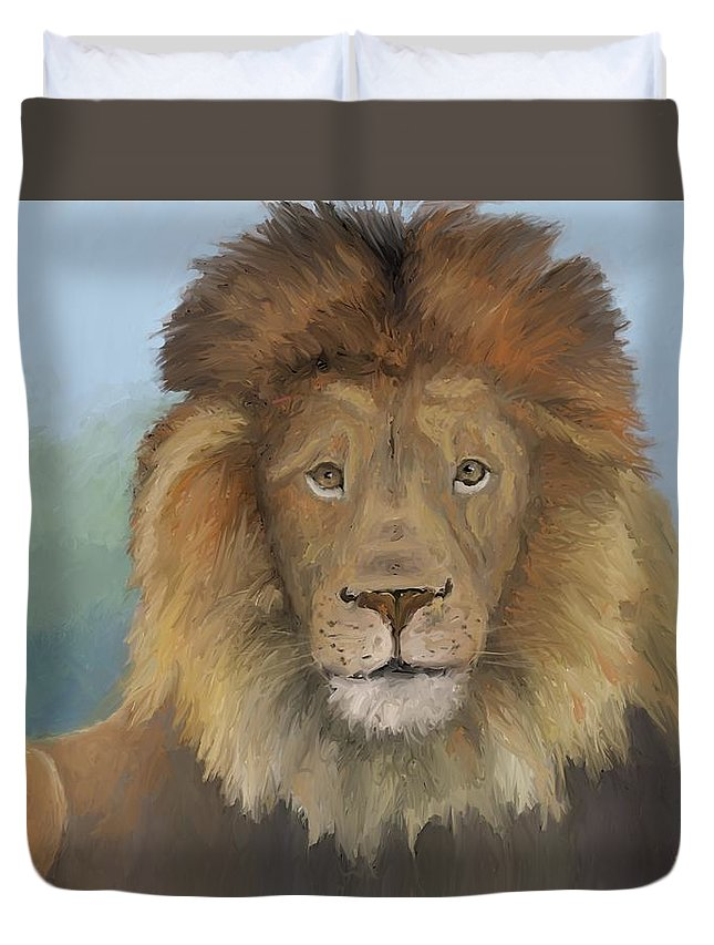 Lion Duvet Cover featuring the painting Aslan by Suryadas Joel Holliman