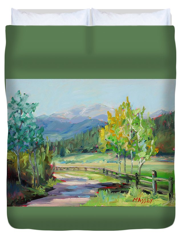 Rocky Mountains Duvet Cover featuring the painting Aspen Lane by Marie Massey
