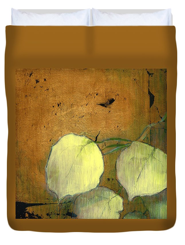 Oil Duvet Cover featuring the painting Aspen Leaves by Patt Nicol