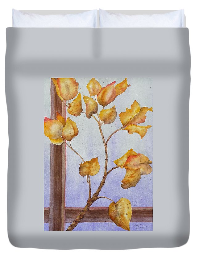 Leaves Duvet Cover featuring the painting Aspen by Ruth Kamenev