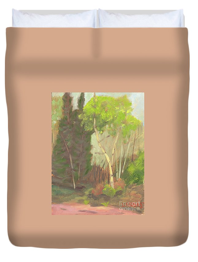 Colorado Duvet Cover featuring the painting Aspen Trail by Lilibeth Andre