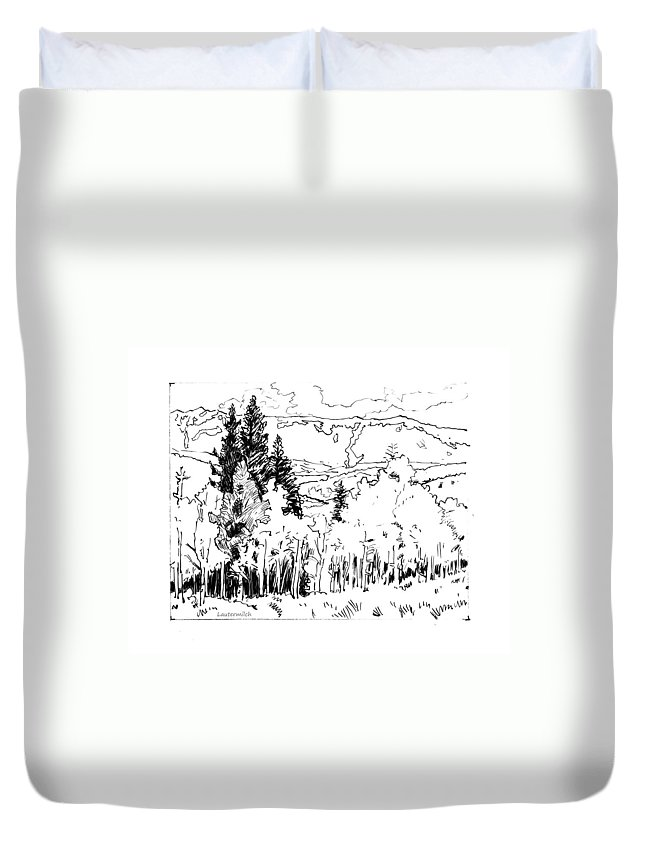 Aspens Duvet Cover featuring the drawing Aspens Against the Evergreens by John Lautermilch