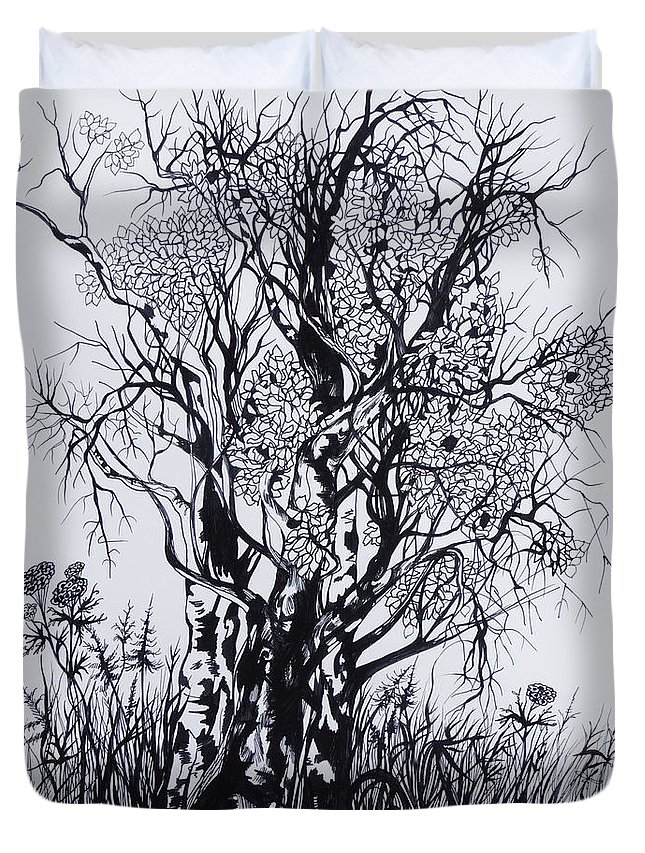 Ink And Pen Duvet Cover featuring the drawing Aspens by Anna Duyunova