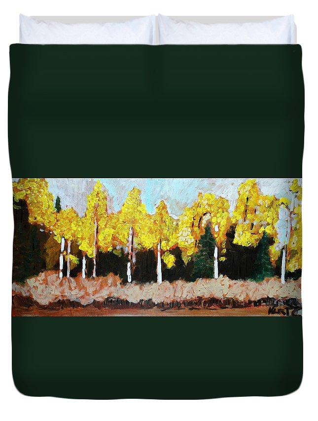 Fall Duvet Cover featuring the painting Aspens by Kurt Hausmann