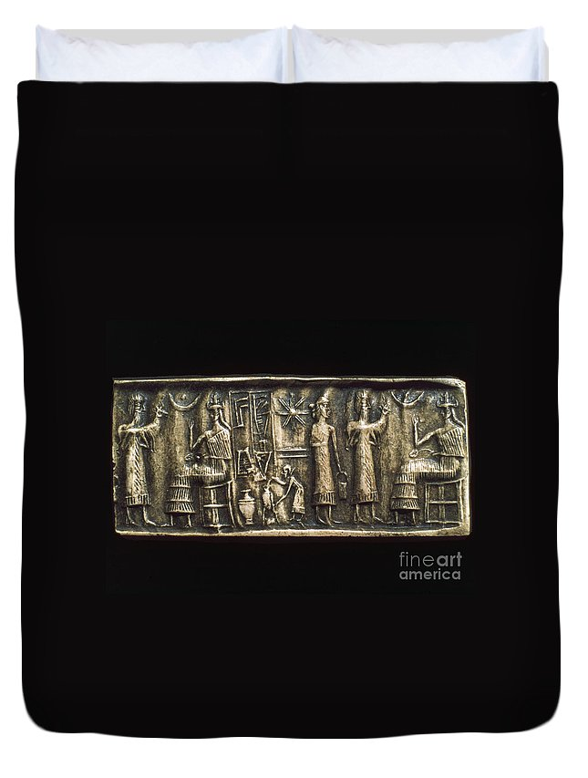 2000 B.c. Duvet Cover featuring the photograph Assyrian Cylindrical Seal by Granger