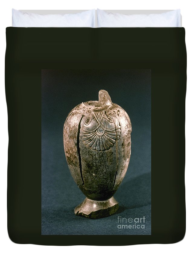 8th Century B.c. Duvet Cover featuring the photograph Assyrian Jug by Granger