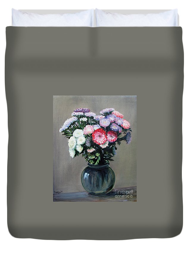 Flowers Duvet Cover featuring the painting Asters by Paul Walsh