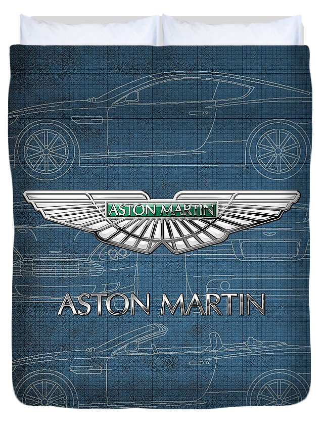 Wheels Of Fortune By Serge Averbukh Duvet Cover featuring the photograph Aston Martin 3 D Badge over Aston Martin D B 9 Blueprint by Serge Averbukh