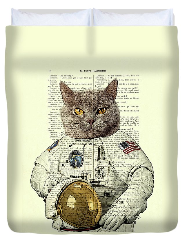 Astronaut Duvet Cover featuring the digital art Astronaut Cat Illustration by Madame Memento