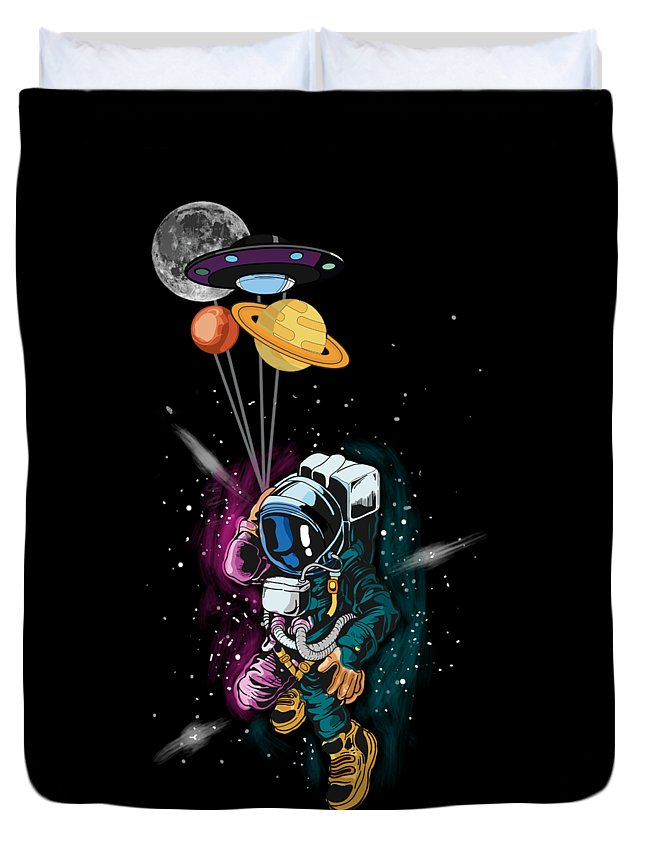 Galaxy Duvet Cover featuring the digital art Astronaut Ufo Balloon Outer Space Shuttle by Thomas Larch