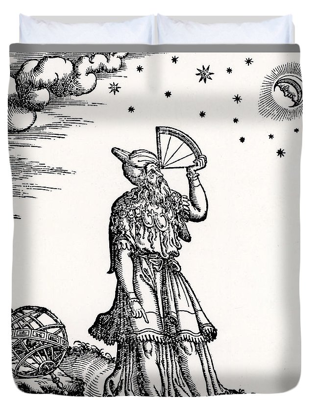 Astronomer Duvet Cover featuring the drawing Astronomer, Probably Ptolemy Of Alexandria by Venetian School