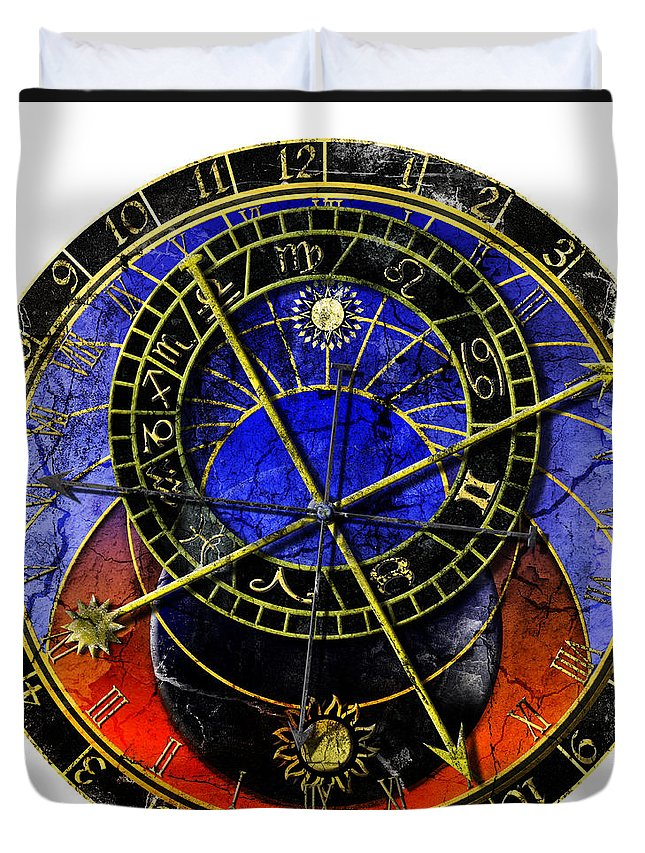 Grunge Duvet Cover featuring the digital art Astronomical Clock In Grunge Style by Michal Boubin