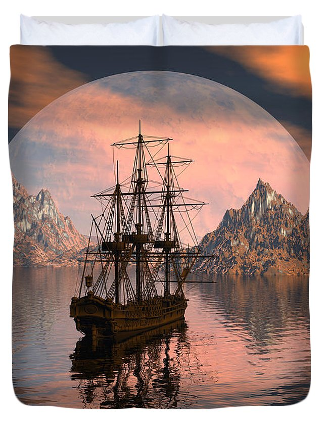 Bryce 3d Digital Fantasy Scifi Windjammer Sailing Duvet Cover featuring the digital art At Anchor by Claude McCoy