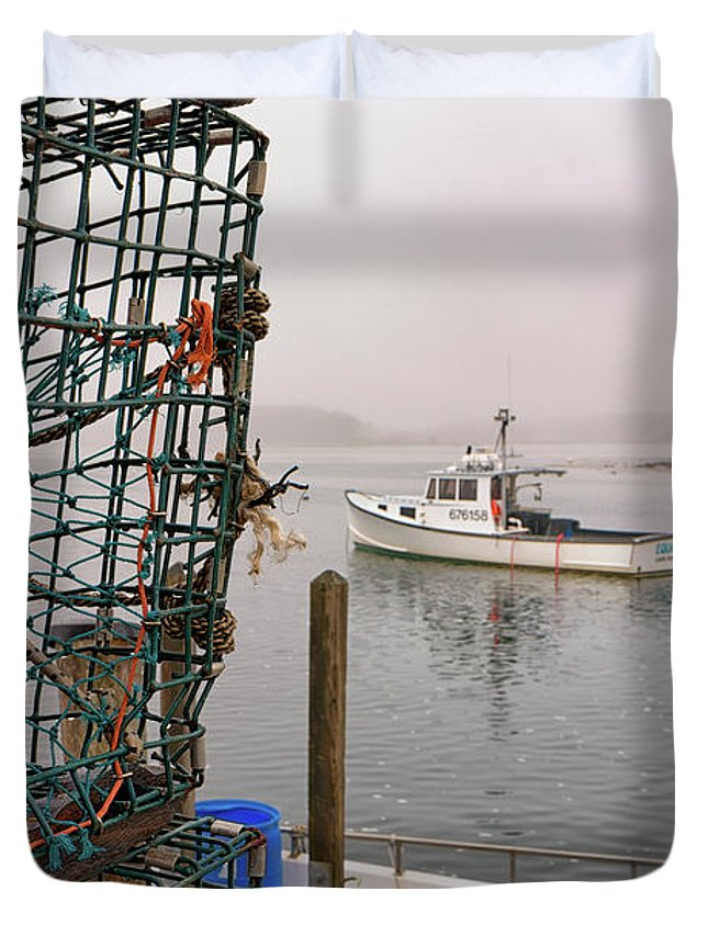 Lobster Trap Duvet Cover featuring the photograph At Anchor On Cape Porpoise by Rick Berk