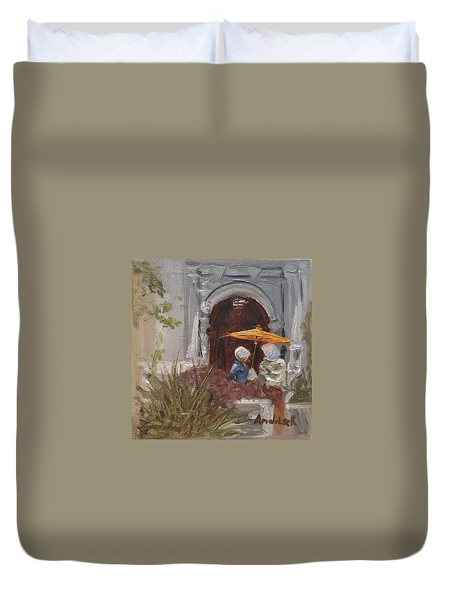 Parks Duvet Cover featuring the painting At Balboa Park by Barbara Andolsek
