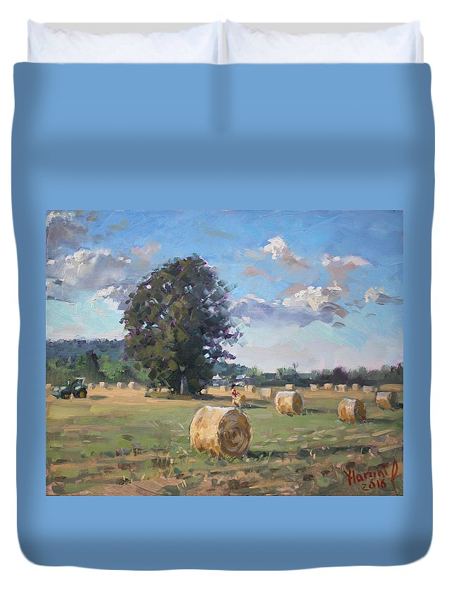 Hay Stoks Duvet Cover featuring the painting At Cathy's Farm Georgetown by Ylli Haruni