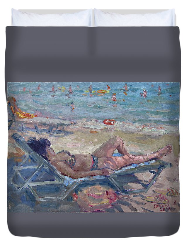 Dilesi Beach Duvet Cover featuring the painting At Dilesi Beach Athens by Ylli Haruni
