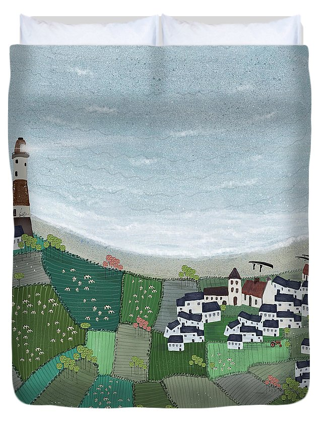 Ireland Duvet Cover featuring the painting At Home By The Sea by Bri Buckley