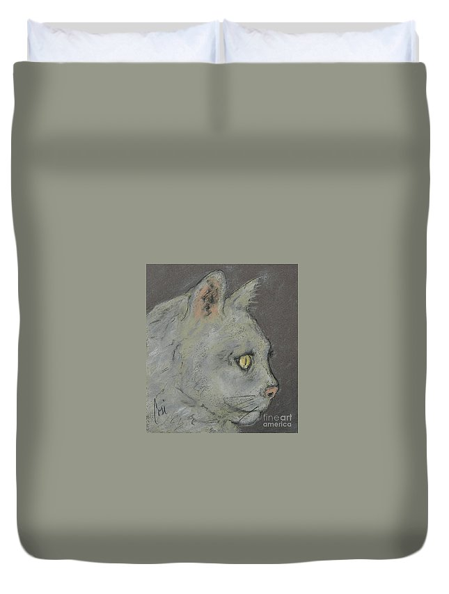 Pastels Duvet Cover featuring the drawing At Peace by Cori Solomon