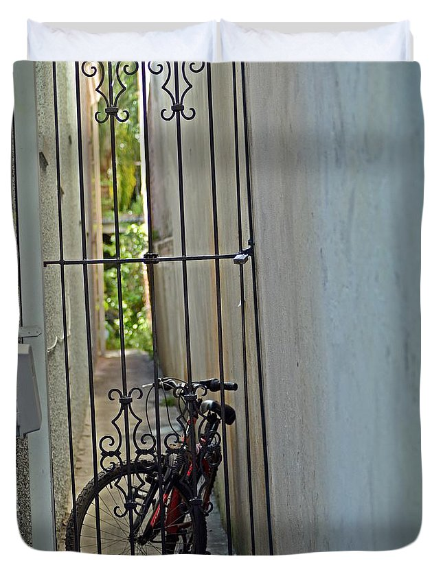 Bike;gate;alley;ironwork;wrought Iron Duvet Cover featuring the photograph At Rest by Cynthia Bowen