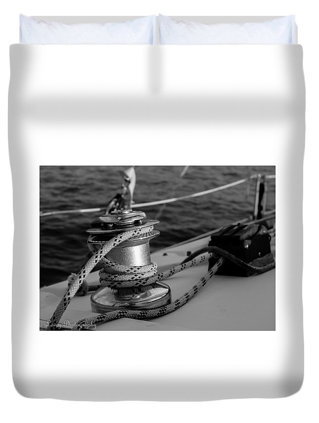 Sailboat Duvet Cover featuring the photograph At Sail by Lovey Photography