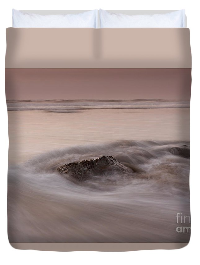 Soft Duvet Cover featuring the photograph At Soft Orange Twilight by Masako Metz