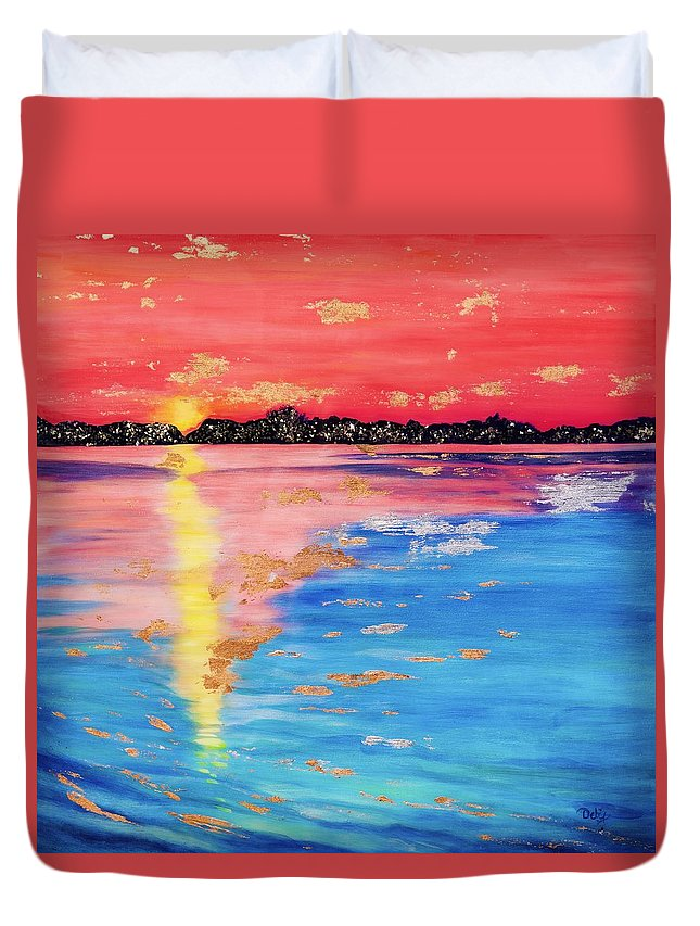 At Sunset Duvet Cover featuring the painting At Sunset by Debi Starr