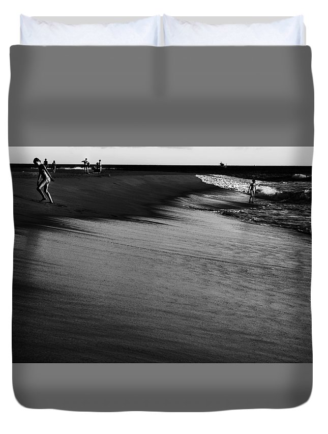 Black And White Duvet Cover featuring the photograph At The Beach by Kelly Hayner