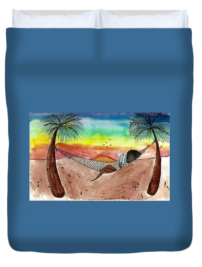 Afro Duvet Cover featuring the painting At The Beach by Lorna Lowe