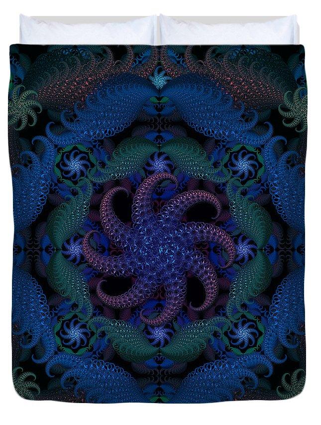 Ultramarine Duvet Cover featuring the digital art At The Bottom Of The Sea by Deborah Runham