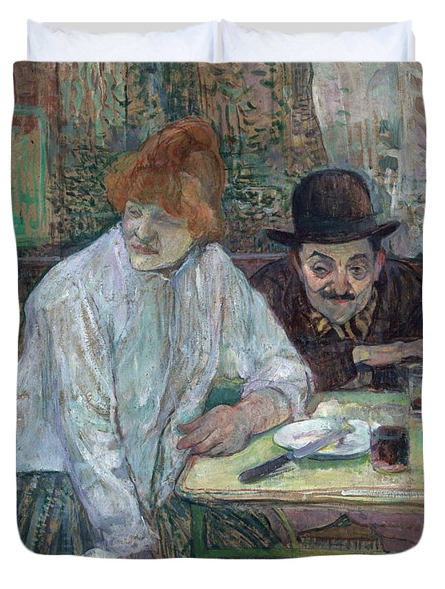 Table Duvet Cover featuring the painting At The Cafe La Mie About 1891 by Henri De Toulouse Lautrec