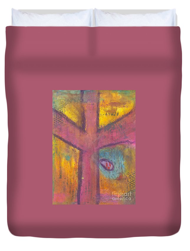 Cross Duvet Cover featuring the mixed media At The Cross by Angela L Walker