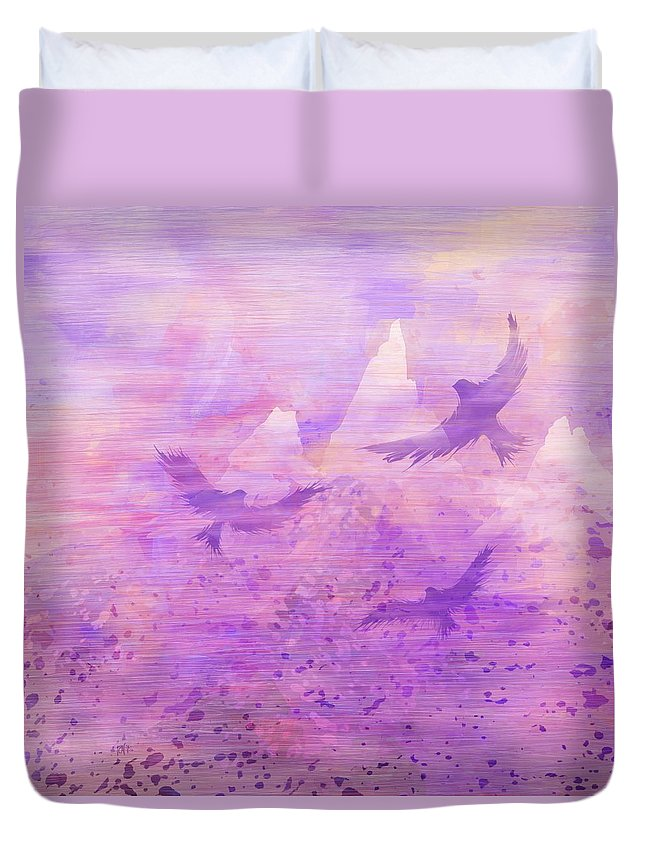 Abstract Duvet Cover featuring the digital art At The Doorsteps Of God by Rachel Christine Nowicki