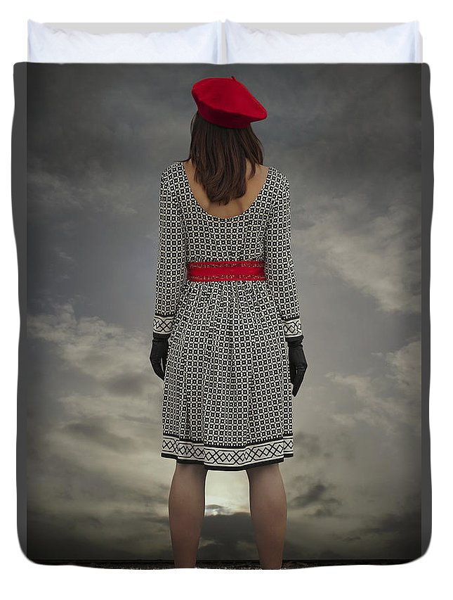 Woman Duvet Cover featuring the photograph At The Edge by Joana Kruse