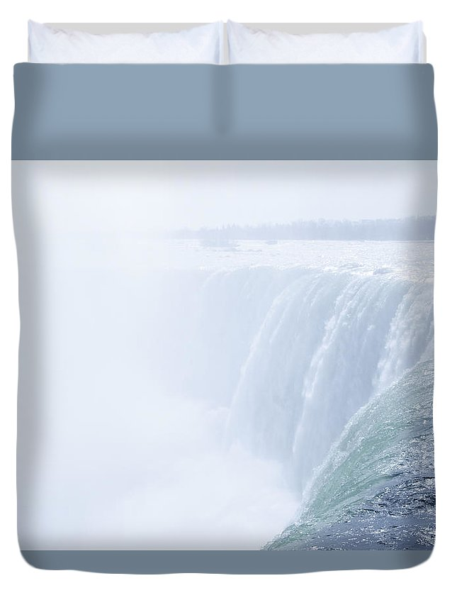 The Duvet Cover featuring the photograph At The Edge Of Horseshoe Falls by Bill Cannon