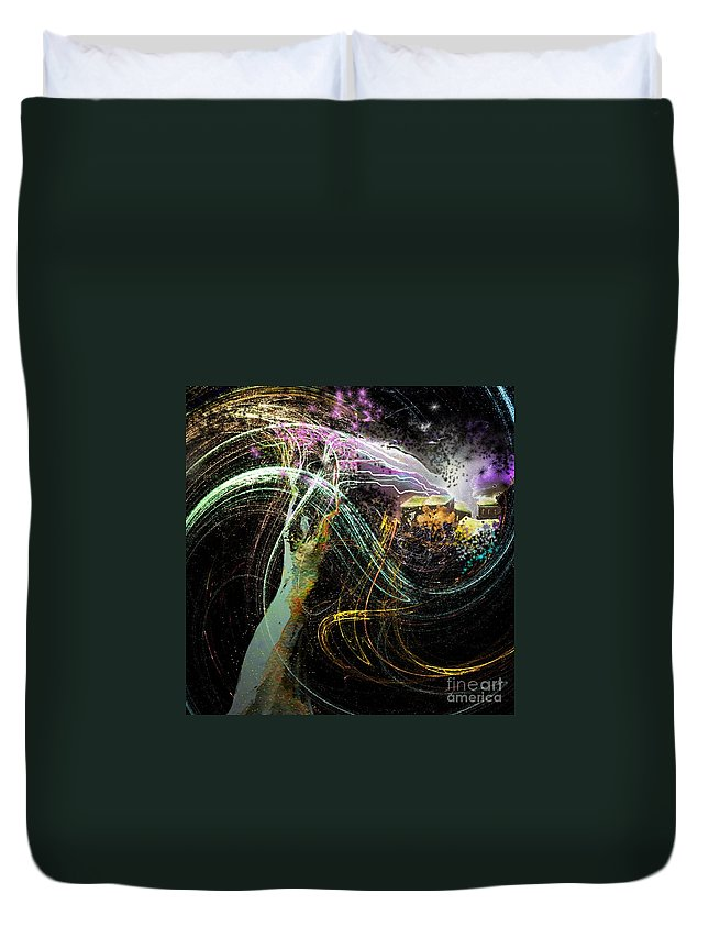 Fantasy Duvet Cover featuring the painting At The End of The Cosmos by Miki De Goodaboom