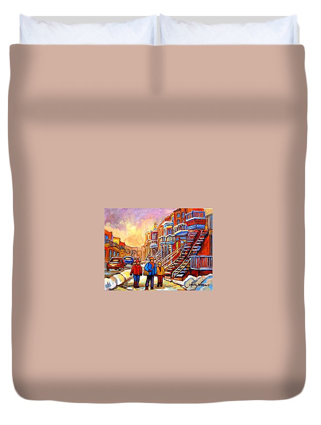 At The End Of The Day Duvet Cover featuring the painting At The End Of The Day by Carole Spandau