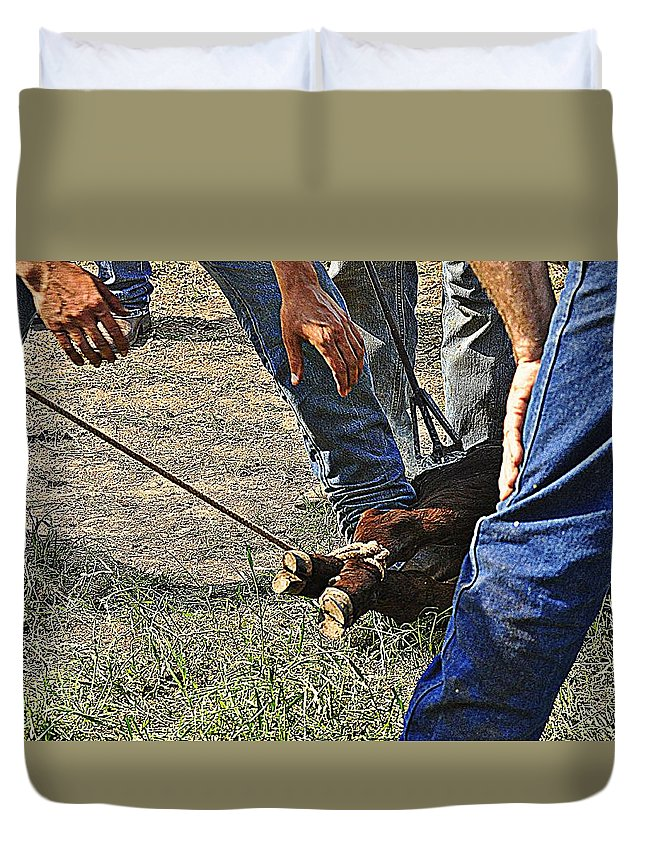 Calf Duvet Cover featuring the photograph At The End Of The Rope by Diana Cannon