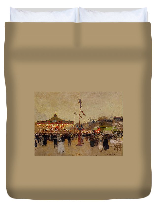 At The Fair (oil On Canvas) By Luigi Loir (1845-1916) Fair; Fairground; Fete; Carousel; Merry-go-round; Figures; Crowd; Crowds; France; French; Flag; Flags; Tricolour; Impressionist; Impressionism; Attraction Duvet Cover featuring the painting At The Fair by Luigi Loir