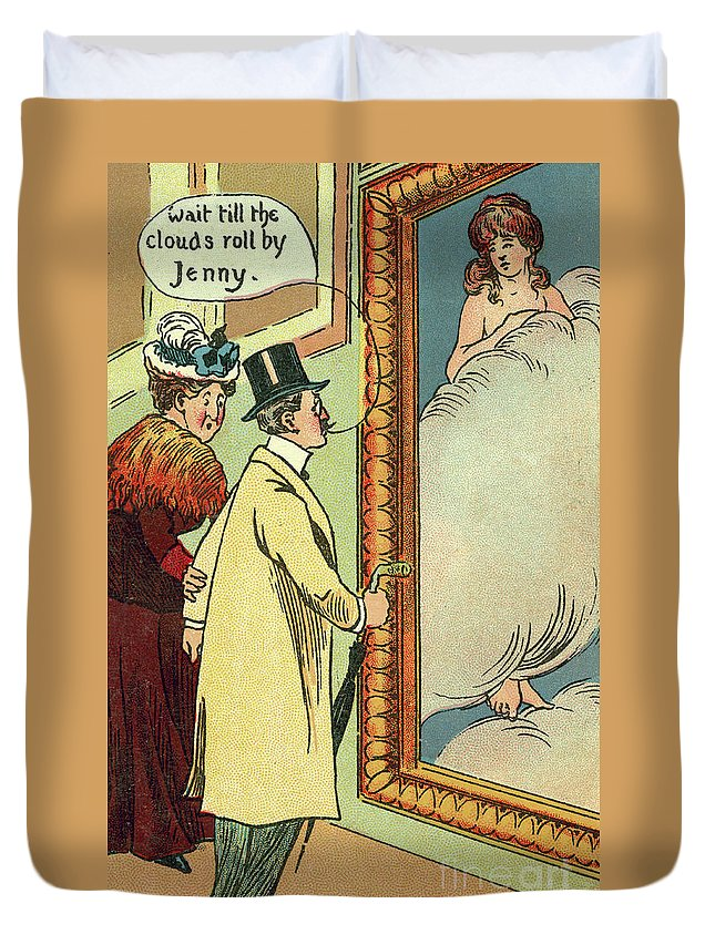 Vintage Duvet Cover featuring the drawing At The Gallery by English School