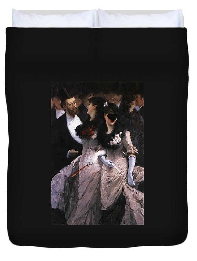 At The Masquerade Duvet Cover featuring the digital art At The Masquerade by Charles Hermans