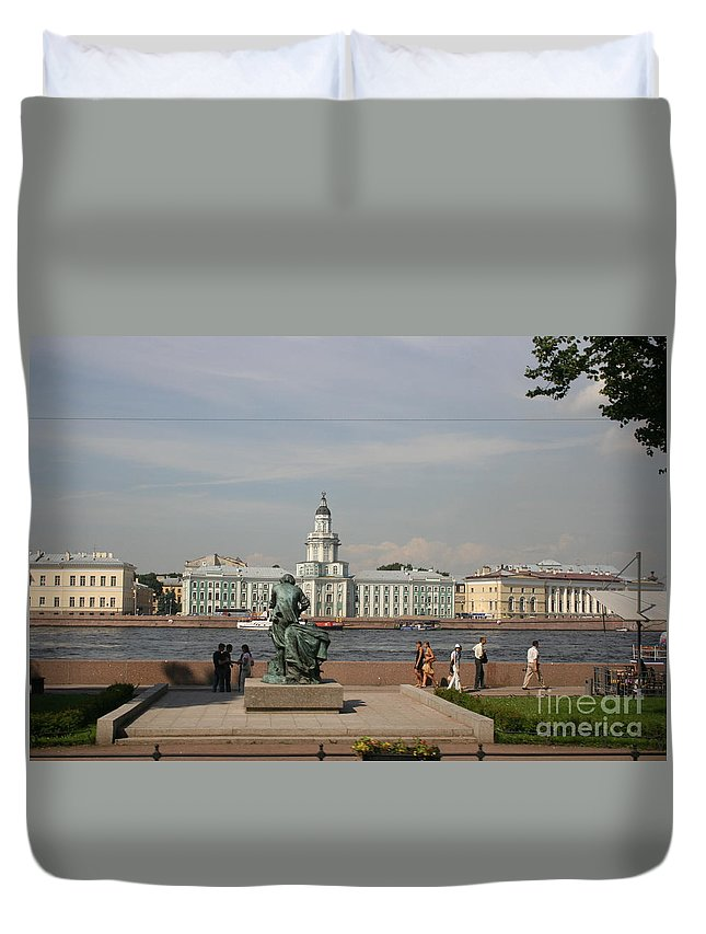 River Duvet Cover featuring the photograph At The Newa - St. Petersburg Russia by Christiane Schulze Art And Photography