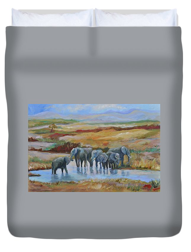 Elephants At Oasis Duvet Cover featuring the painting At The Oasis by Ginger Concepcion