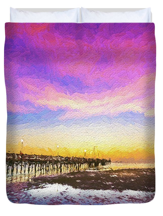 Florida Duvet Cover featuring the photograph At The Pier by Marvin Spates