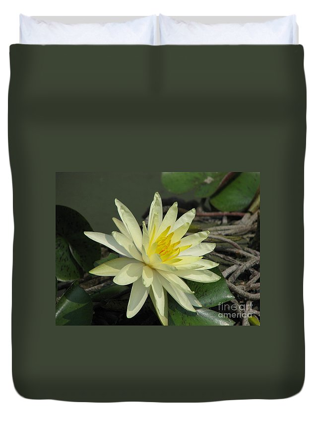 Lilly Duvet Cover featuring the photograph At The Pond by Amanda Barcon