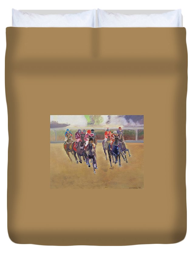 Horses Duvet Cover featuring the painting At The Races by Gail Eisenfeld